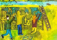 Viajes para los grupos de dibujos de los niños de la ciudad Járkov Imagen de archivo libre de regalías