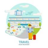 Viajes Un hombre se coloca cerca del aeropuerto Imágenes de archivo libres de regalías