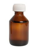 Vial. Brown glass vial with liquid drug isolated on white Royalty Free Stock Image