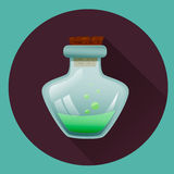 Vial with green liquid. Icon for halloween. Game icons. Royalty Free Stock Photography