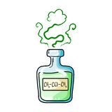 A vial of green potion.Medicines for diabetics.Diabetes single icon in cartoon style vector symbol stock illustration. A vial of green potion.Medicines for Stock Image