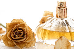 Vial Of Perfume And Dry Rose Flower Royalty Free Stock Image