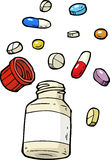 Vial of pills. Cartoon doodle vial of pills assorted illustration stock illustration