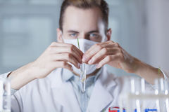 The vial with the plant in front of the face of the scientist. The vial with the plant is in front of the face of the scientist Royalty Free Stock Photography
