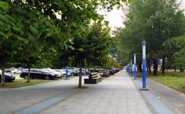 Viale da camminare con i banchi di legno ed i pali della luce blu in una città Immagini Stock