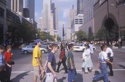 Viale del Michigan del passaggio pedonale, Chicago del centro, IL Immagine Stock