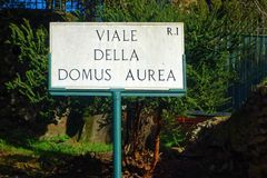 Viale della domus area sign Rome Italy Royalty Free Stock Images