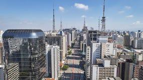 Viale di Avenida Paulista Paulista, città di Sao Paulo, Brasile immagini stock libere da diritti
