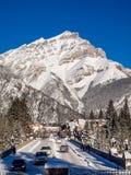 Viale di Banff nell'inverno Fotografie Stock