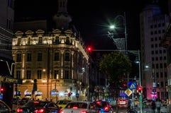 Viale di Calea Victoriei di notte Immagine Stock Libera da Diritti