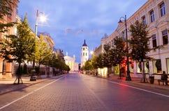 Viale di Gediminas alla notte a Vilnius Immagine Stock Libera da Diritti