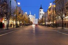 Viale di Gediminas a Vilnius alla notte fotografie stock