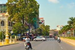 Viale di Phnom Penh Immagine Stock