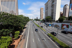 Viale a Sao Paulo, Brasile Fotografia Stock Libera da Diritti