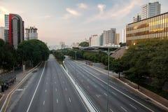 Viale vuoto di São Paulo Fotografia Stock Libera da Diritti