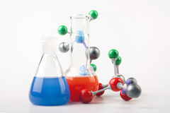 Vials And Atoms! Royalty Free Stock Images