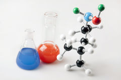 Vials and Atoms Royalty Free Stock Photography