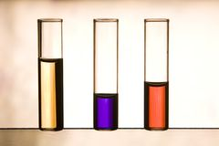 Vials with multicolor liquids Royalty Free Stock Images