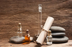 Vials of perfume oils in fragrance lab Royalty Free Stock Image
