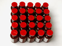 Vials stand in rows Royalty Free Stock Image