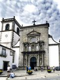 Viana do Castelo, Portugal. August 15, 2017: Facade of the Santo Domingo church in Mannerist style and built with granite stone in. The 16th century Royalty Free Stock Images