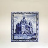 Viana do Castelo, Portugal. August 15, 2017: Tile mosaic representing the Sanctuary of Santa Luzia, fixed on the wall of the cable royalty free stock photography