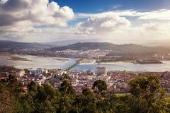 Viana do Castelo, vista de la ciudad de una altura, ciudad hermosa imagen de archivo libre de regalías