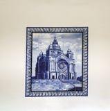 Viana fa Castelo, Portogallo 15 agosto 2017: Piastrelli il mosaico che rappresenta il santuario di Santa Luzia, riparato sulla pa fotografia stock libera da diritti
