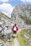 Viandante alla montagna di Norkette, Innsbruck, Austria Fotografie Stock
