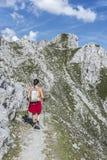 Viandante alla montagna di Norkette, Innsbruck, Austria Immagine Stock Libera da Diritti