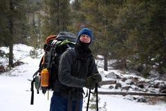Viandante alpina - Montana Fotografia Stock