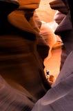 Viandante in canyon della scanalatura Fotografia Stock