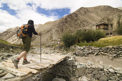 Viandante che attraversa un ponticello in valle di Markha, India Immagini Stock