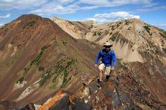 Viandante che cammina in montagne Immagine Stock