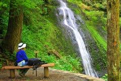 Viandante che gode del momento delle cascate Fotografia Stock