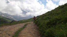 Viandante che viaggia nelle alpi Fondo alpino del landskape Jungfrau, altopiano di Bernese Sport, turismo, viaggio e fare un'escu video d archivio