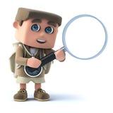 viandante del bambino 3d con la lente d'ingrandimento Fotografia Stock