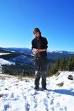 Viandante della montagna Fotografia Stock