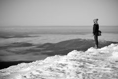 Viandante della montagna della neve Immagini Stock Libere da Diritti