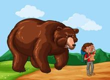 Viandante e Big Bear nel campo Immagine Stock Libera da Diritti