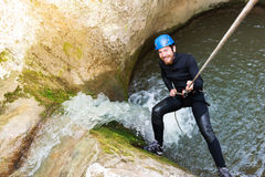 Viandante emozionante del canyon Fotografie Stock