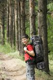 Viandante in foresta Immagini Stock Libere da Diritti