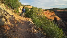 Viandante maschio che cammina sulla traccia di Ute Canyon video d archivio