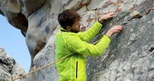 Viandante maschio che lega una corda dell'amaca su una roccia 4k video d archivio