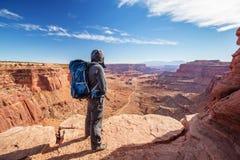 Viandante nel parco nazionale di Canyonlands nell'Utah, U.S.A. Immagini Stock