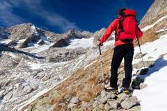Viandante osservando un panorama dell'alta montagna Fotografia Stock