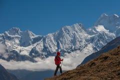 Viandante sul viaggio in Himalaya fotografie stock libere da diritti