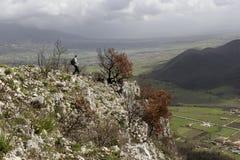 Viandante sulla montagna Fotografia Stock Libera da Diritti