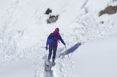 Viandante sulla neve Fotografia Stock Libera da Diritti