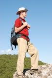 Viandante sulla roccia Immagine Stock